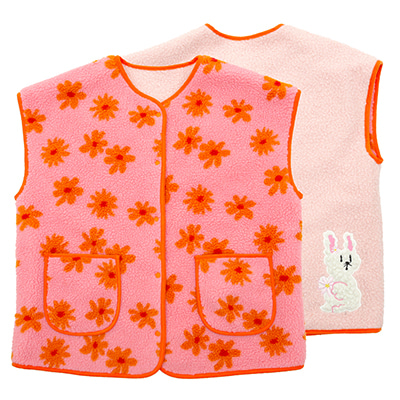 Winter flowers fleece reversible vest (ADULT)