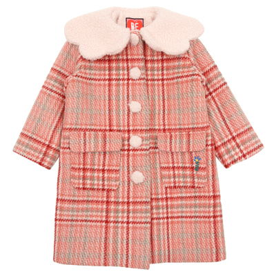 Pink cloud collar checked coat